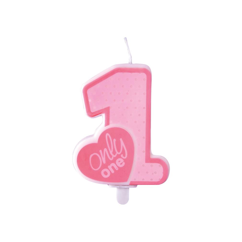 Zahlenkerze Kerze Geburtstagstorte Geburtstagskuchen Geburtstag 1 pink only one