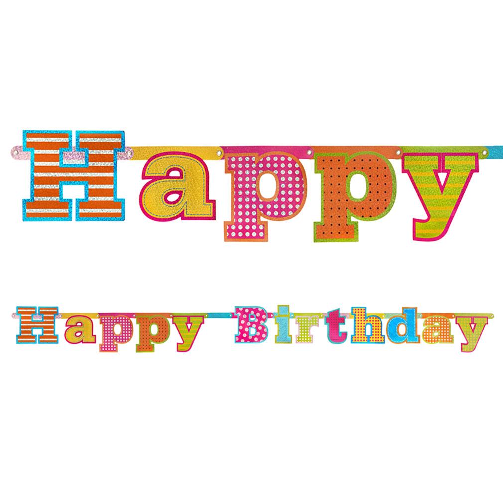 Girlande Happy Birthday zum Geburtstag Dekoration Geburtstags-Feier-Party