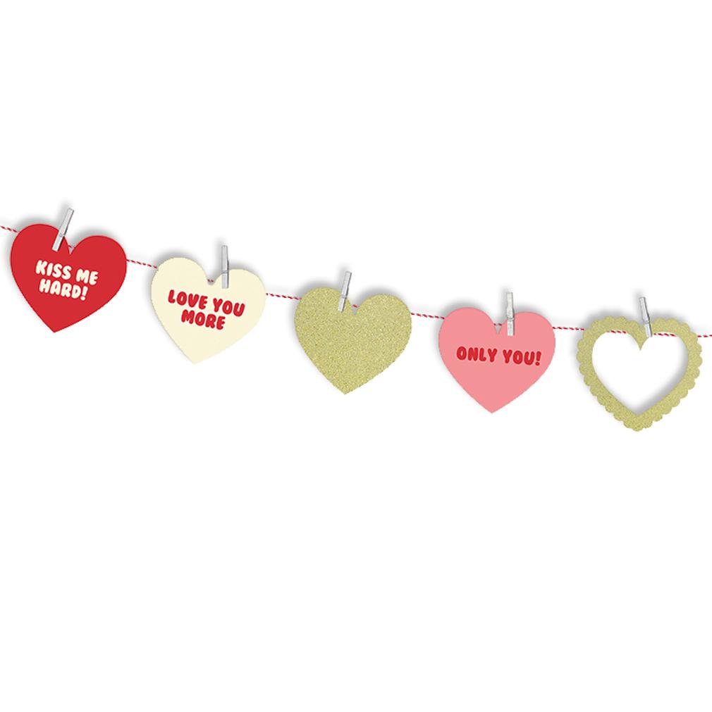 Girlande mit mehrfarbigen Herzen Herzgirlande Hochzeit + originelle Beschriftung