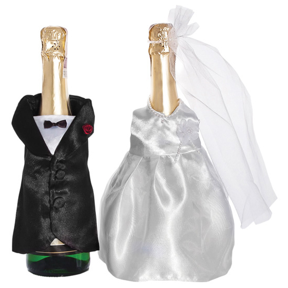Champagner-Flaschen Hochzeit Sektflaschen Deko-Kleidung 2er Set Brautpaar