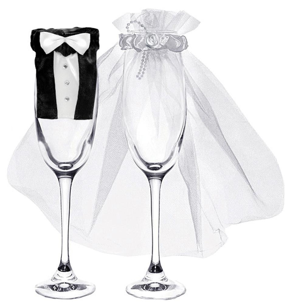 Champagner-Glas Hochzeit Sektglas Deko-Kleidung 2er Set Braut und Bräutigam