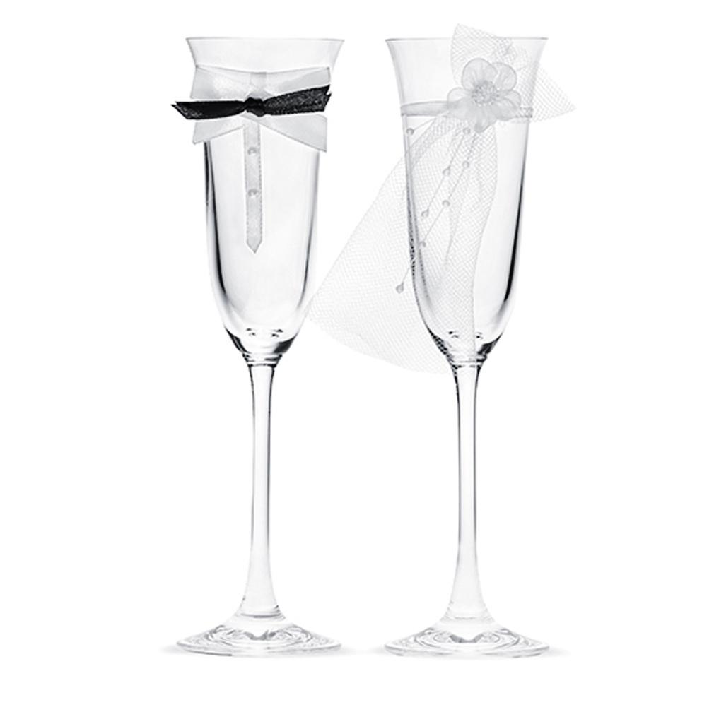 2er Set Champagner-Gläser Hochzeit Sektgläser Liebe 2x Champagner-Glas