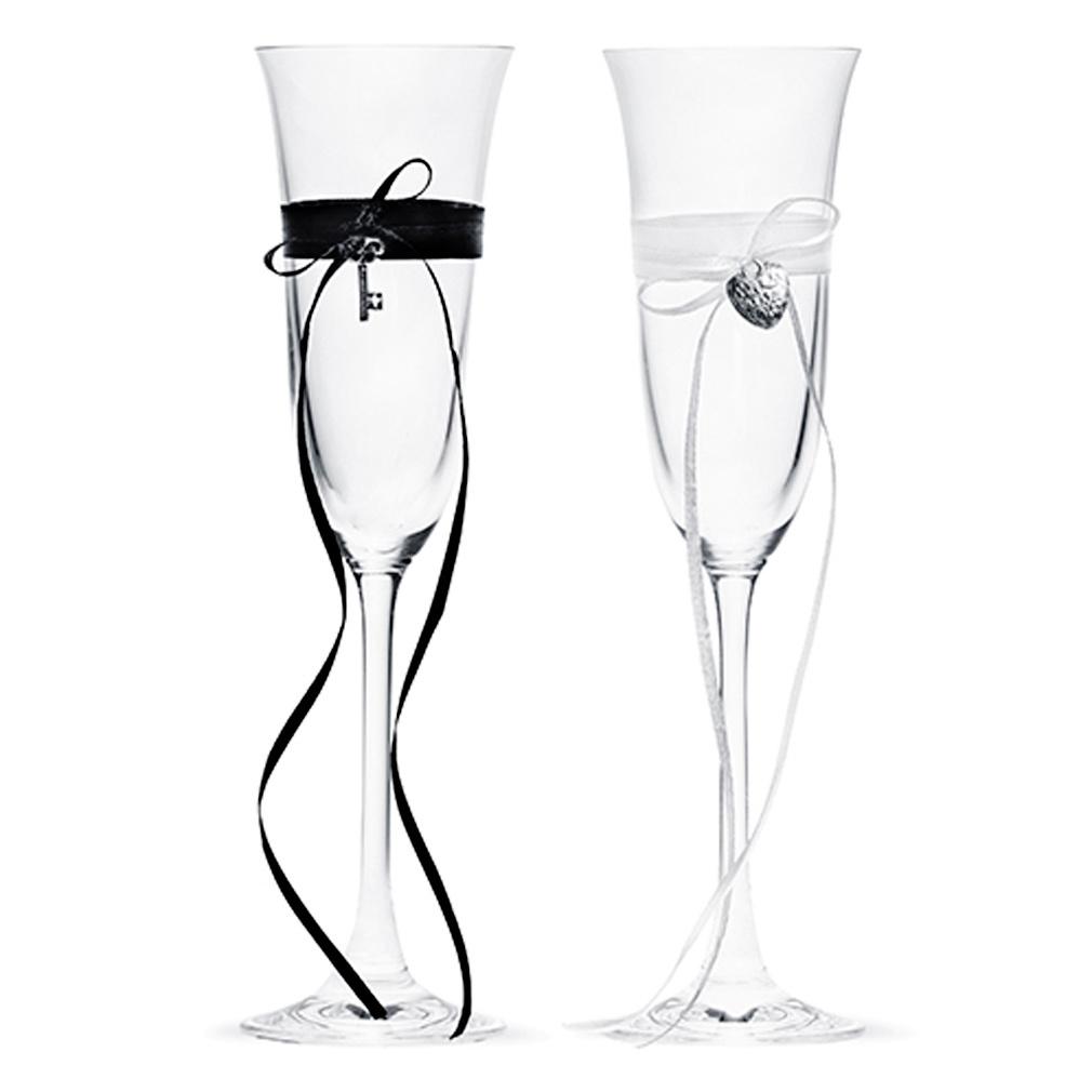 2er Set Champagner-Gläser Hochzeit Sektgläser Herz & Schlüssel Champagner-Glas