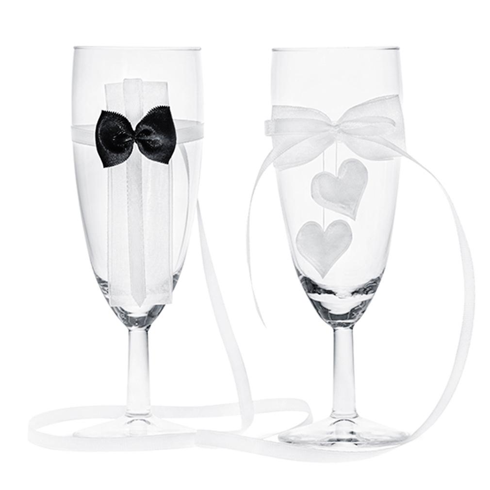 2er Set Champagner-Gläser Hochzeit Sektgläser mit Herzen Liebe 2x Champagner-Glas