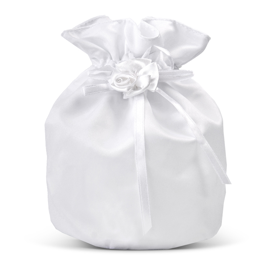 Brautbeutel Braut-Tasche Brauttäschchen Satin weiss Hochzeit