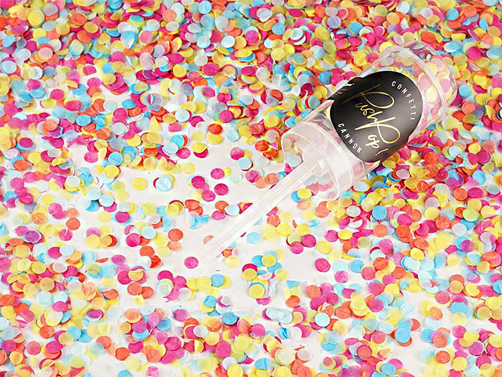 Konfetti pushpop Shooter Popper Kanone mehrfarbig Party Geburtstag Hochzeit