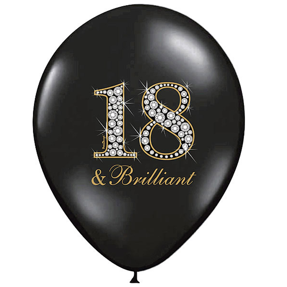 6 Stück große gold schwarze Rund-Luftballons Ballons Luftballons 18 & Brilliant mit Motiv