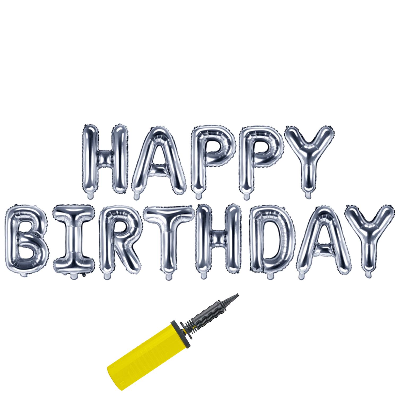 Folienballons 13 Buchstaben Happy Birthday Geburtstag  Ballons Luftballons Luftpumpe