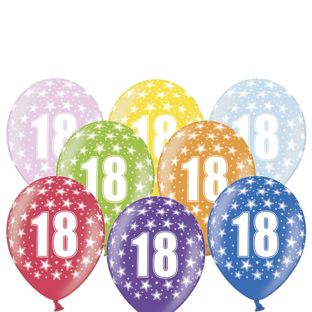 6 große bunte Rundluftballons Rund-luftballon Rundballons Luftballons 18 mit Motiv