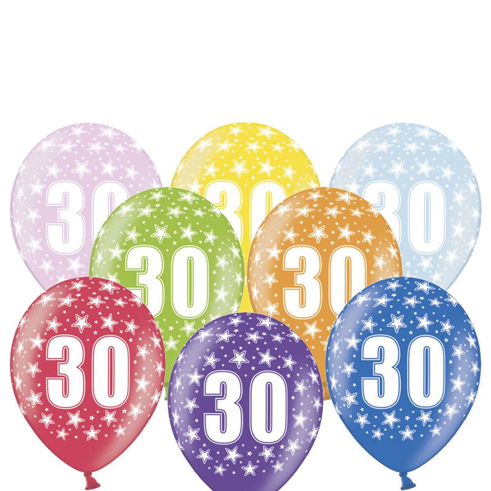 6 große bunte Rundluftballons Rund-luftballon Rundballons Luftballons 30 mit Motiv