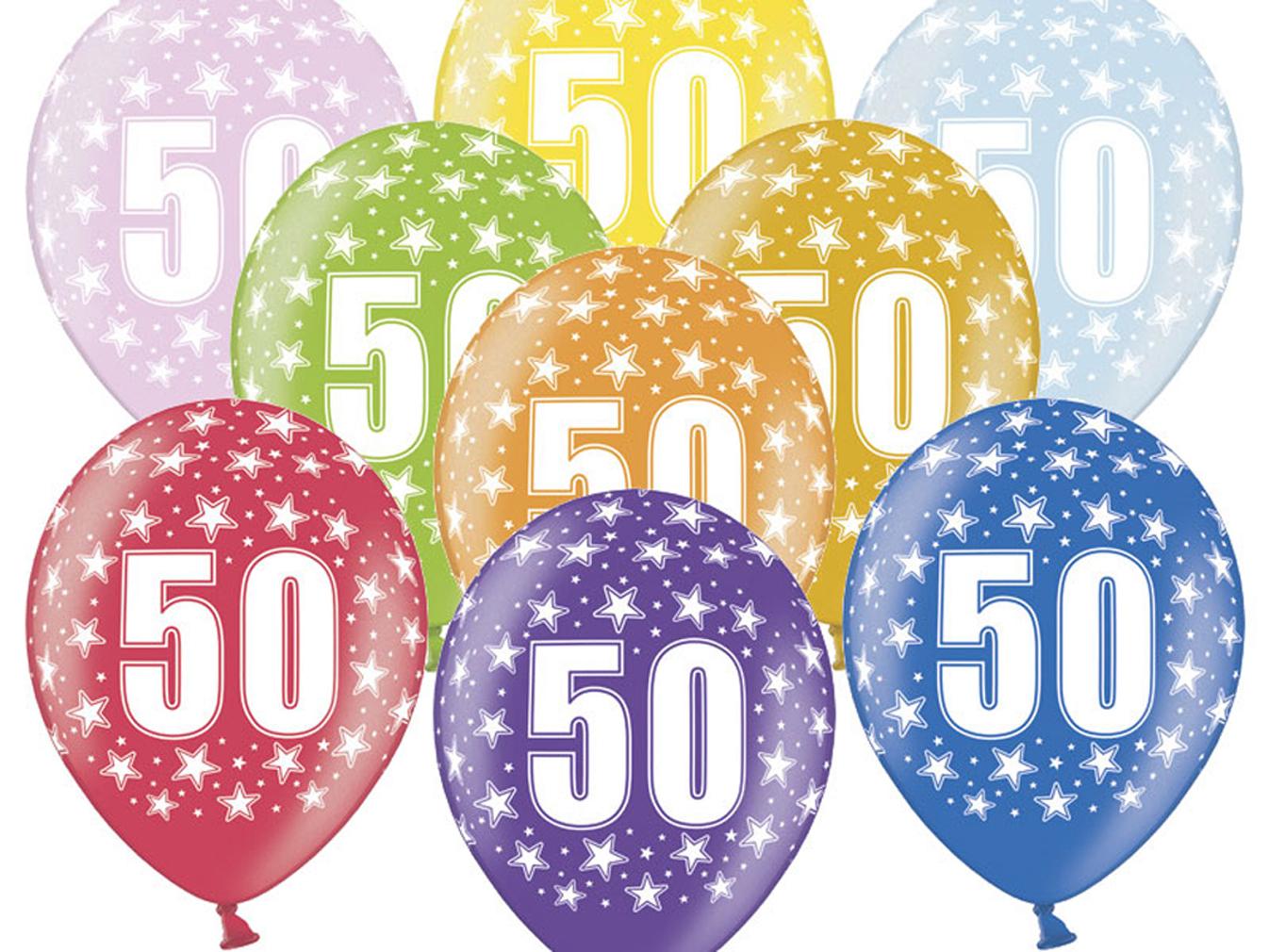 6 große bunte Rundluftballons Rund-luftballon Rundballons Luftballons 50 mit Motiv