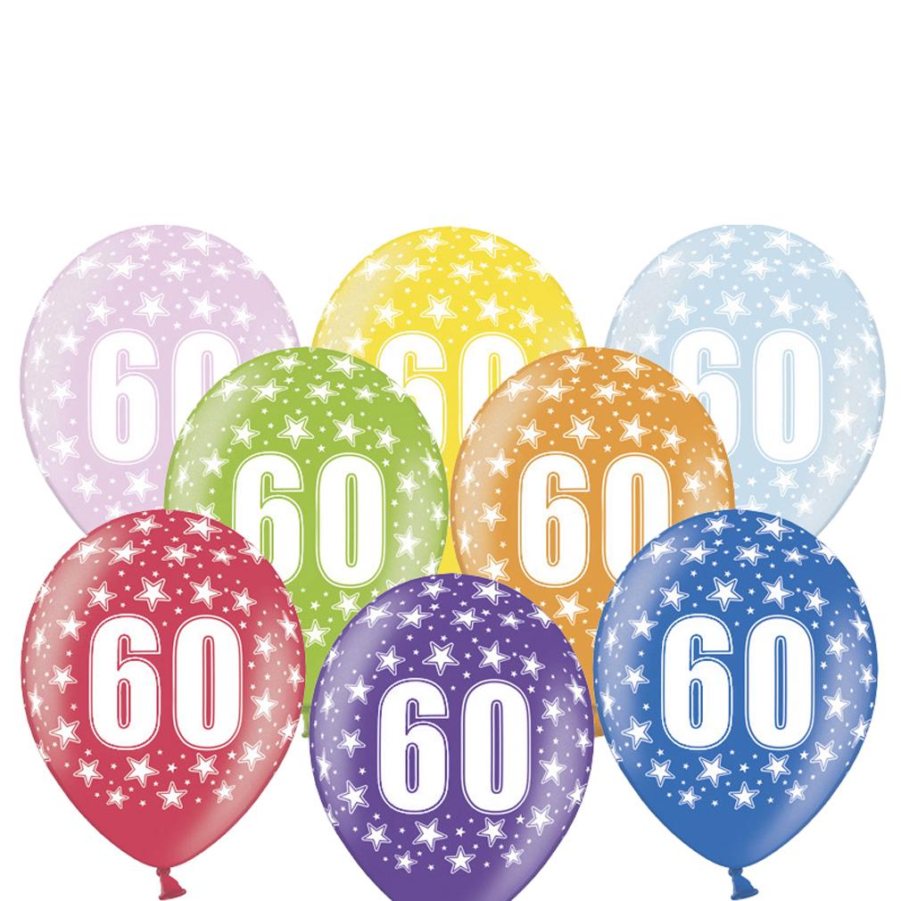 6 große bunte Rundluftballons Rund-luftballon Rundballons Luftballons 60 mit Motiv