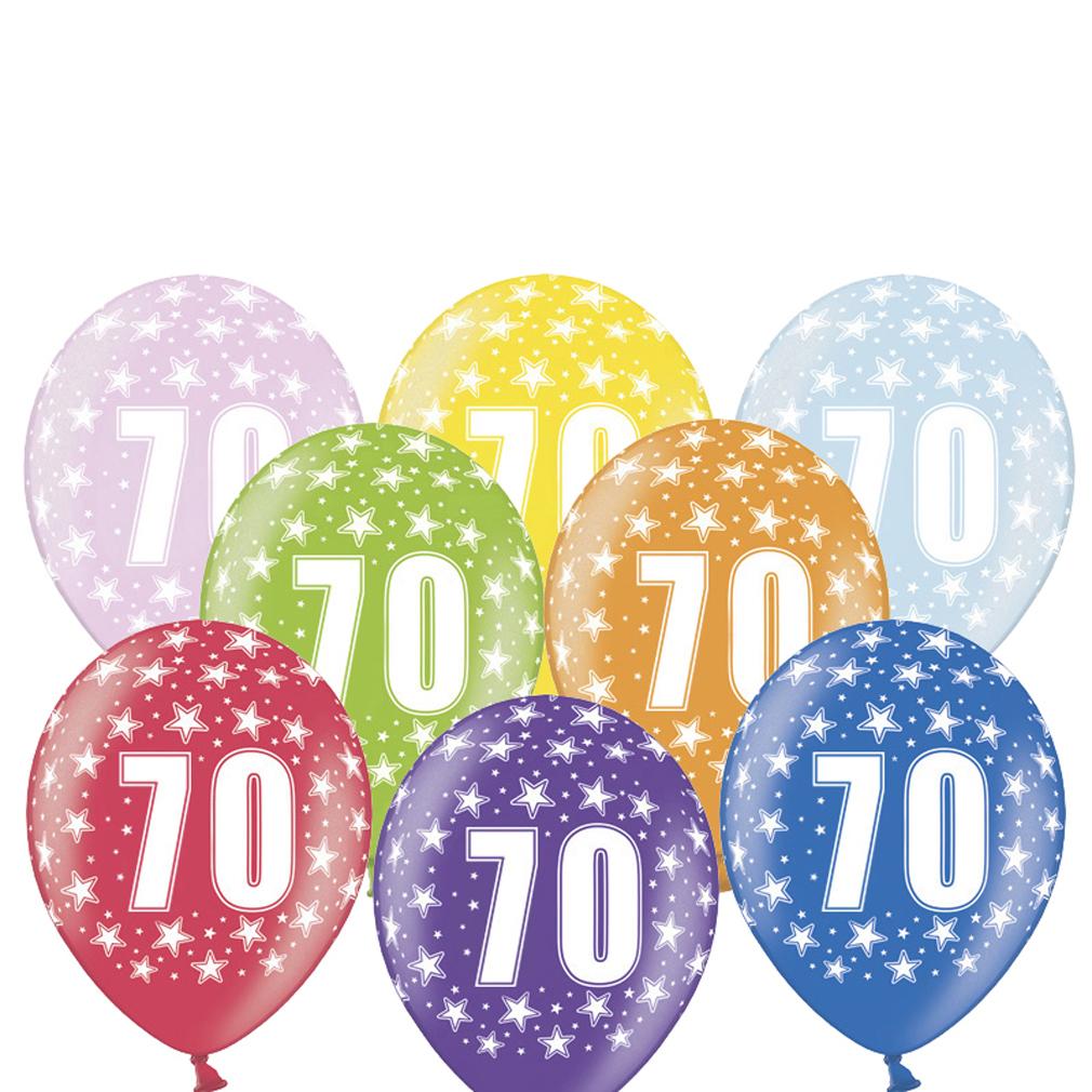 6 große bunte Rundluftballons Rund-luftballon Rundballons Luftballons 70 mit Motiv