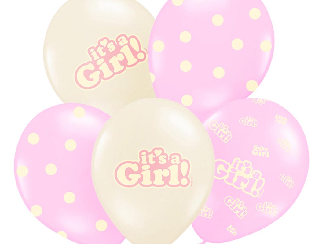 6 Stück pink-weiße Rund-Luftballons Ballons Luftballons mit Motiv it's a Girl