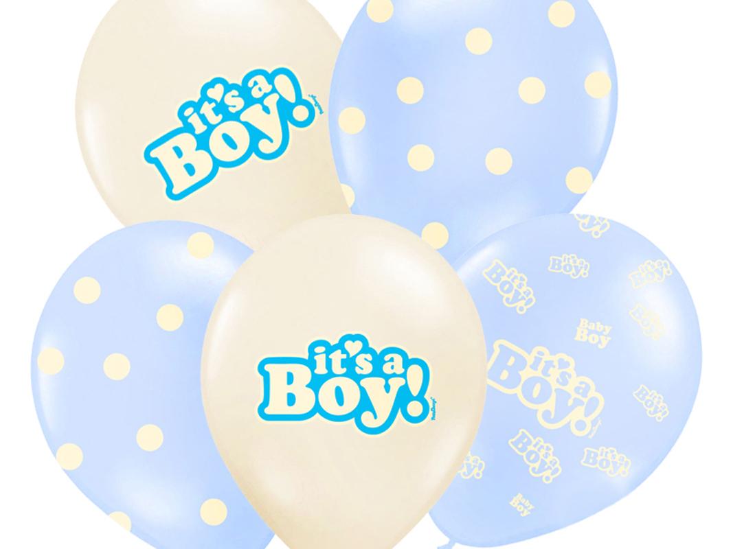 6 Stück blau-weiße Rund-Luftballons Ballons Luftballons mit Motiv it's a Boy