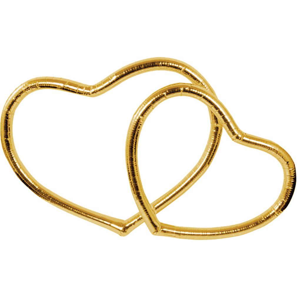 Hochzeit 2er Herzen Set - gold-farben Auto-Schmuck Wandschmuck Liebe Tischdeko