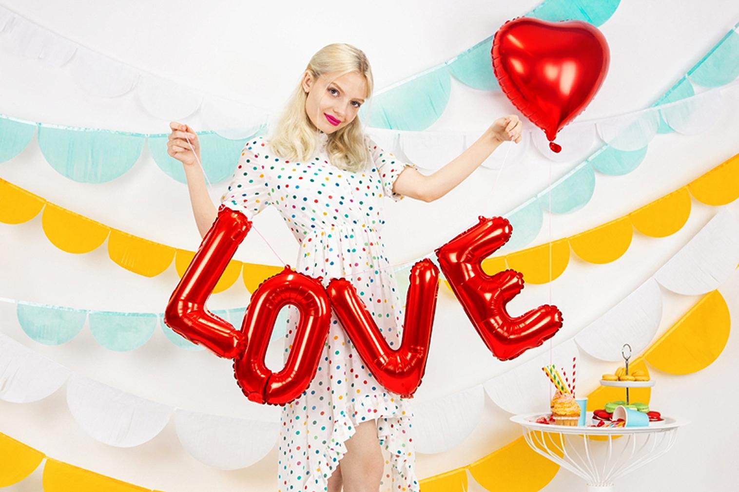 Folienballon LOVE Dekoration rot Ballons Luftballons mit Luftpumpe Partyballon Liebe