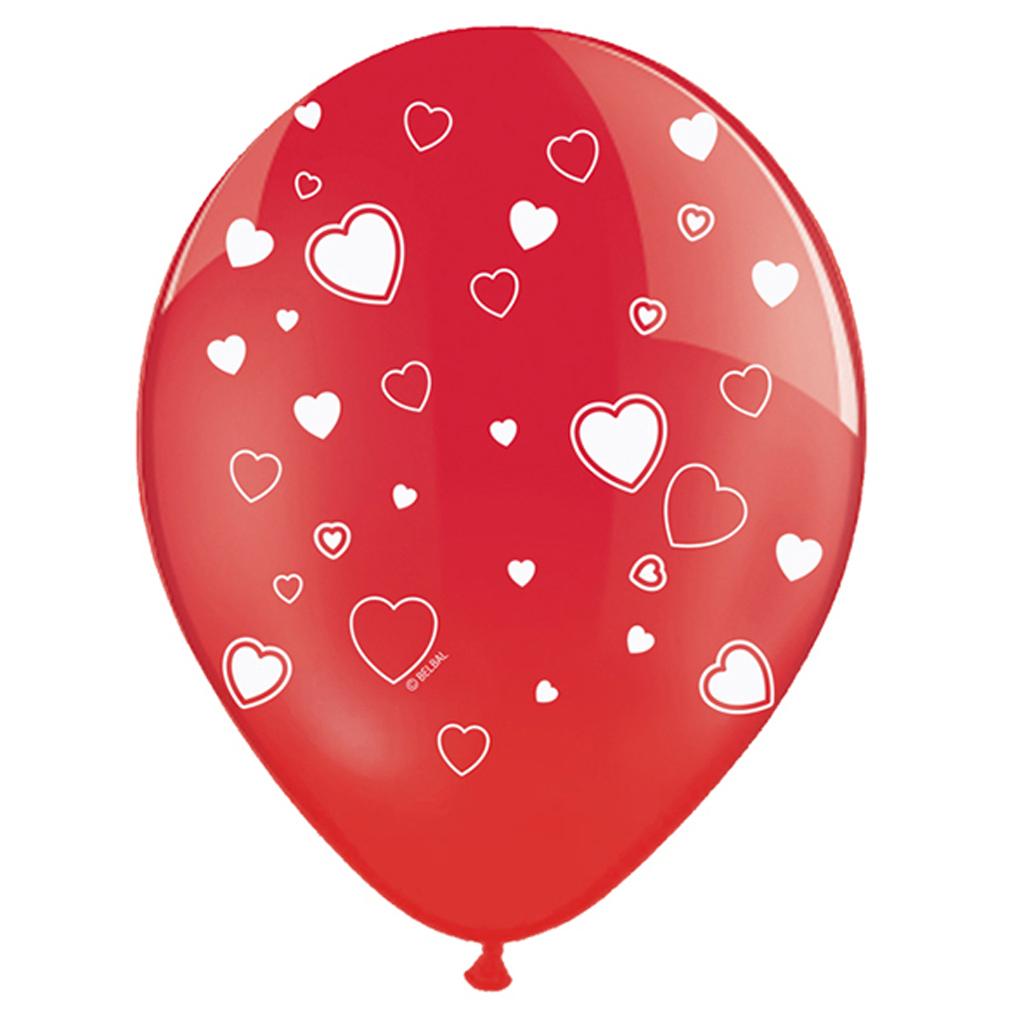 6 große rote Rund-Luftballons Ballons Luftballons mit Motiv