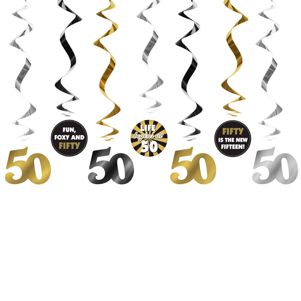 Girlande 50 Dekoration zum Geburtstag Jubiläum Geburtstags-Feier-Party