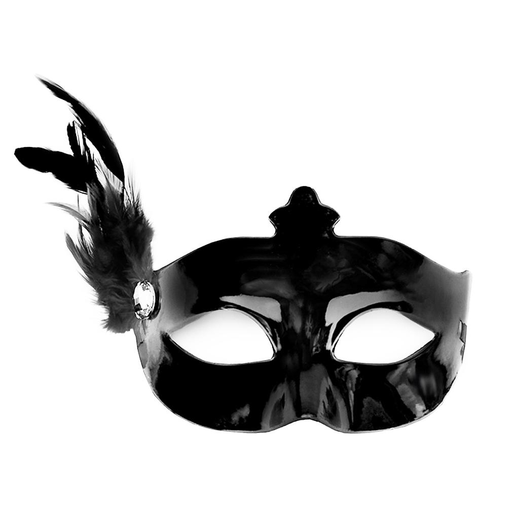 Party-Maske schwarz Fasching Maskenball Kaneval Maske mit Feder Venedig Augenmaske