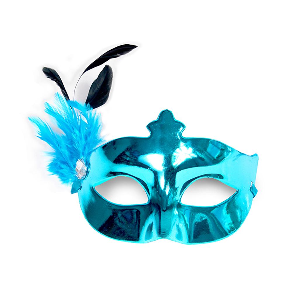 Party-Maske türkis Fasching Maskenball Kaneval Maske mit Feder Venedig Augenmaske