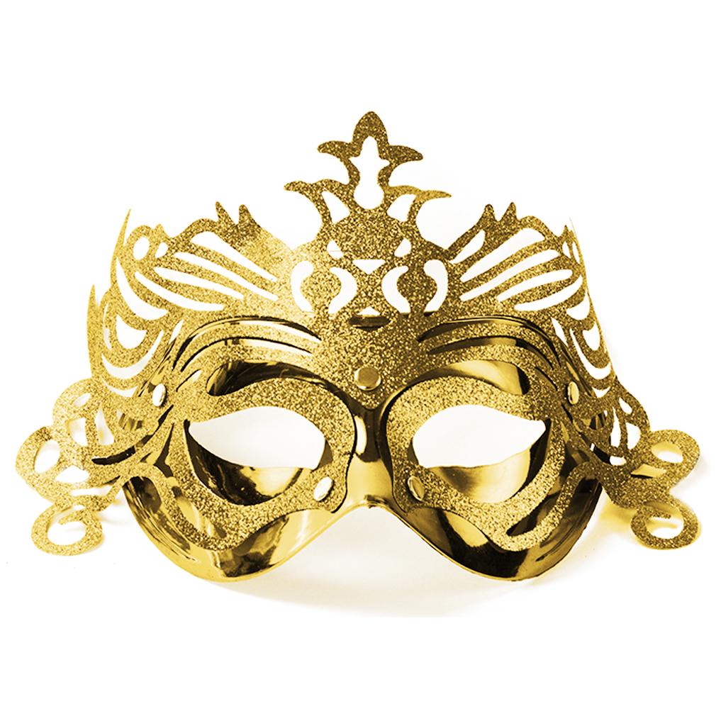 Party-Maske Fasching Maskenball Kaneval Gesichtsmaske goldfarben Venedig Augenmaske