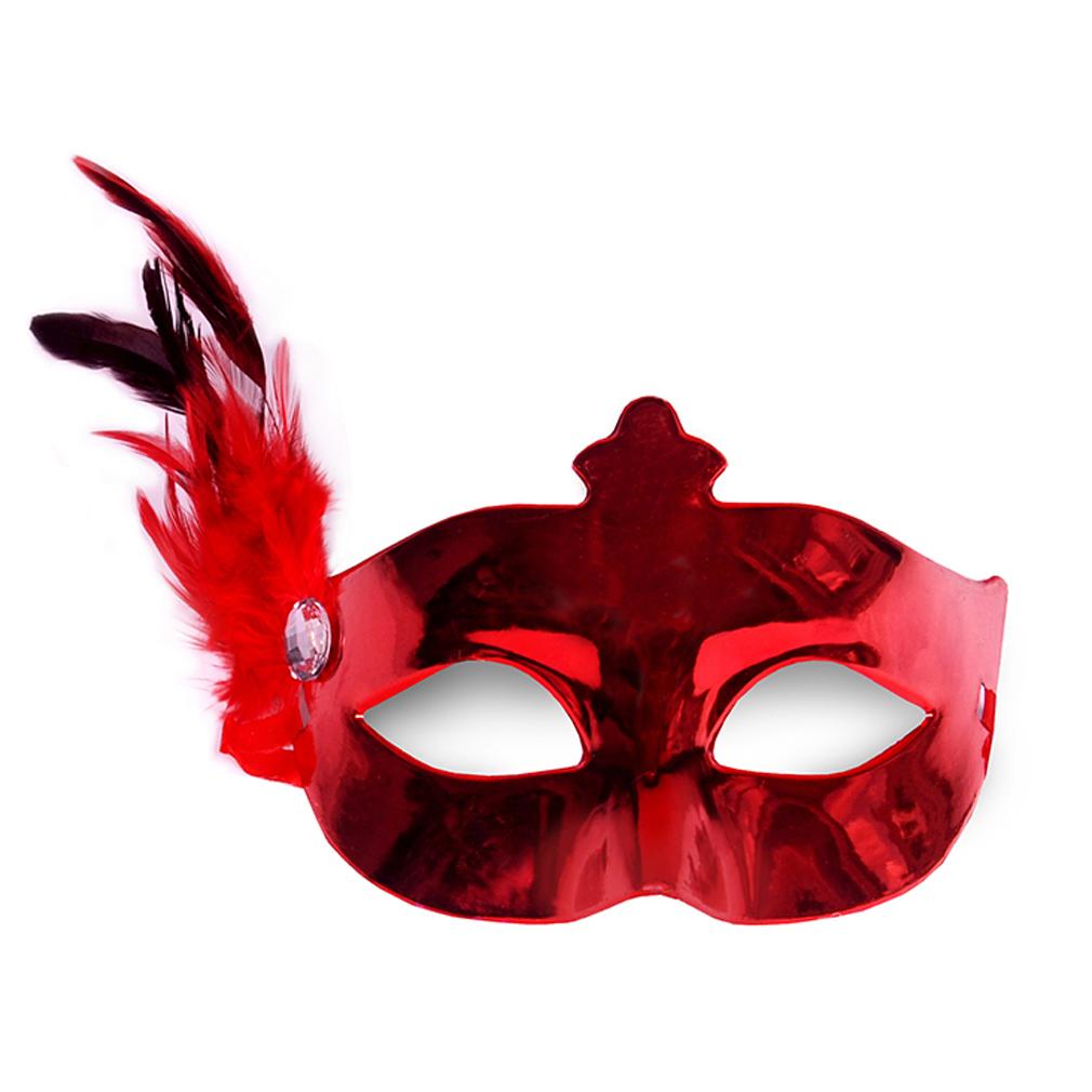 Party-Maske rot Fasching Maskenball Kaneval Maske mit Feder Venedig Augenmaske