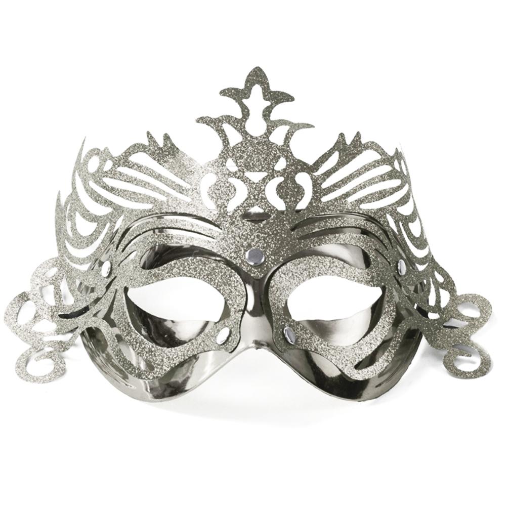 Party-Maske Fasching Maskenball Kaneval Gesichtsmaske silberfarben Venedig Augenmaske