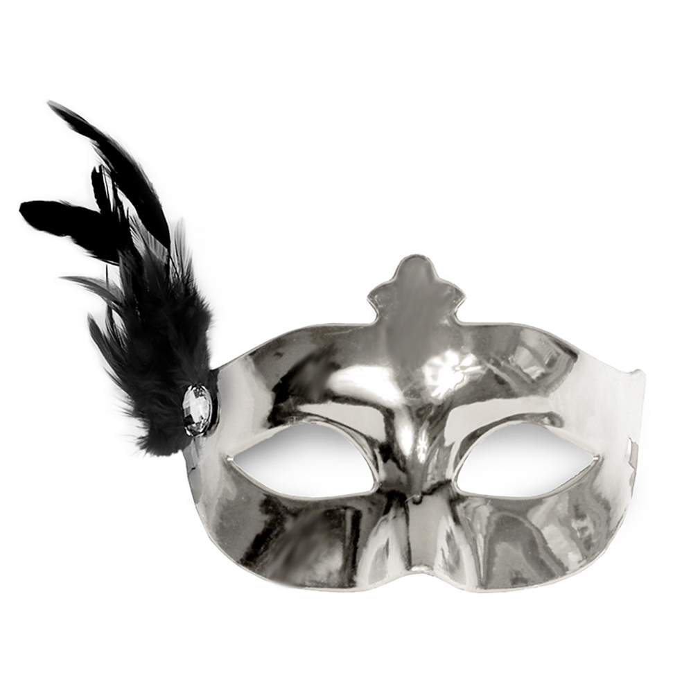 Party-Maske silber Fasching Maskenball Kaneval Maske mit Feder Venedig Augenmaske
