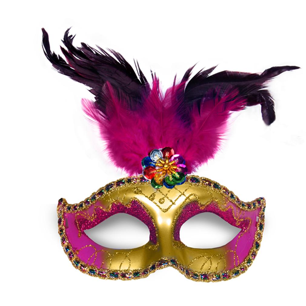 Party-Maske Fasching Maskenball Kaneval Gesichtsmaske gold pink Venedig Augenmaske