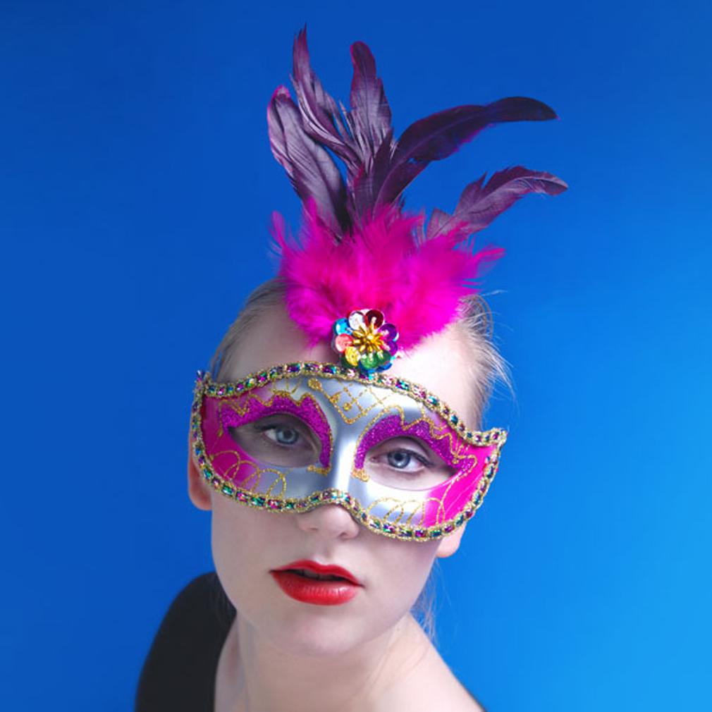 Party-Maske Fasching Maskenball Kaneval Gesichtsmaske gold silber pink Venedig
