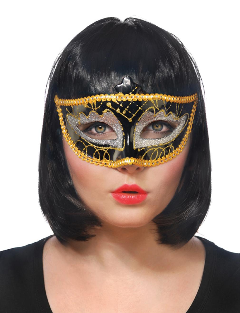 Party-Maske Fasching Maskenball Kaneval Gesichtsmaske gold silber Venedig Augenmaske