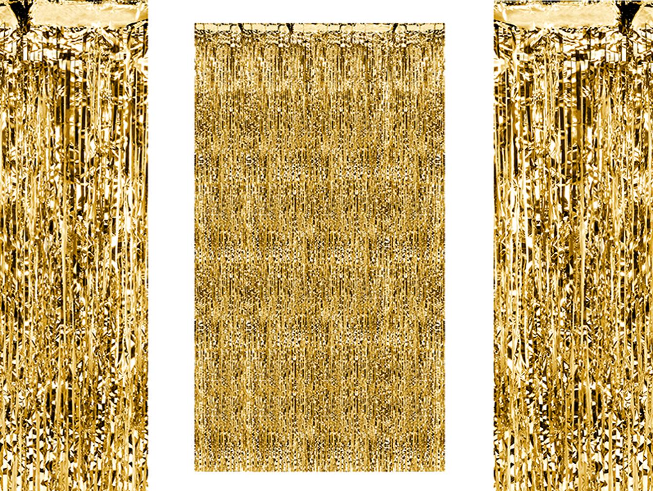 Party-Vorhang gold-farben für Geburtstagsparty Partyraum-Tür Lametta-Vorhang