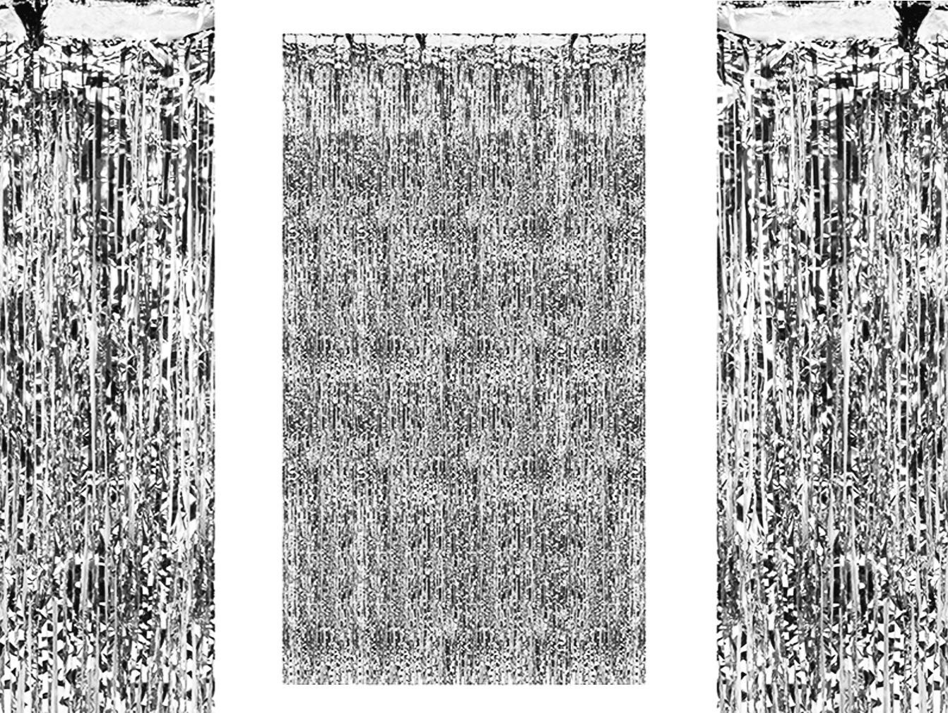 Party-Vorhang silber-farben für Geburtstagsparty Partyraum-Tür Lametta-Vorhang