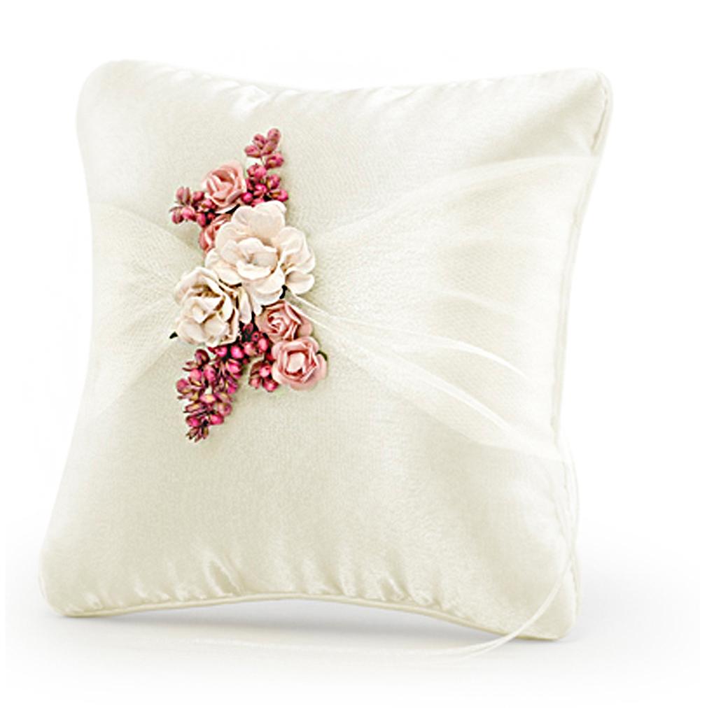 Ringekissen cremefarbenes Satin mit cremefarbenen Tüll und rosa Blüten