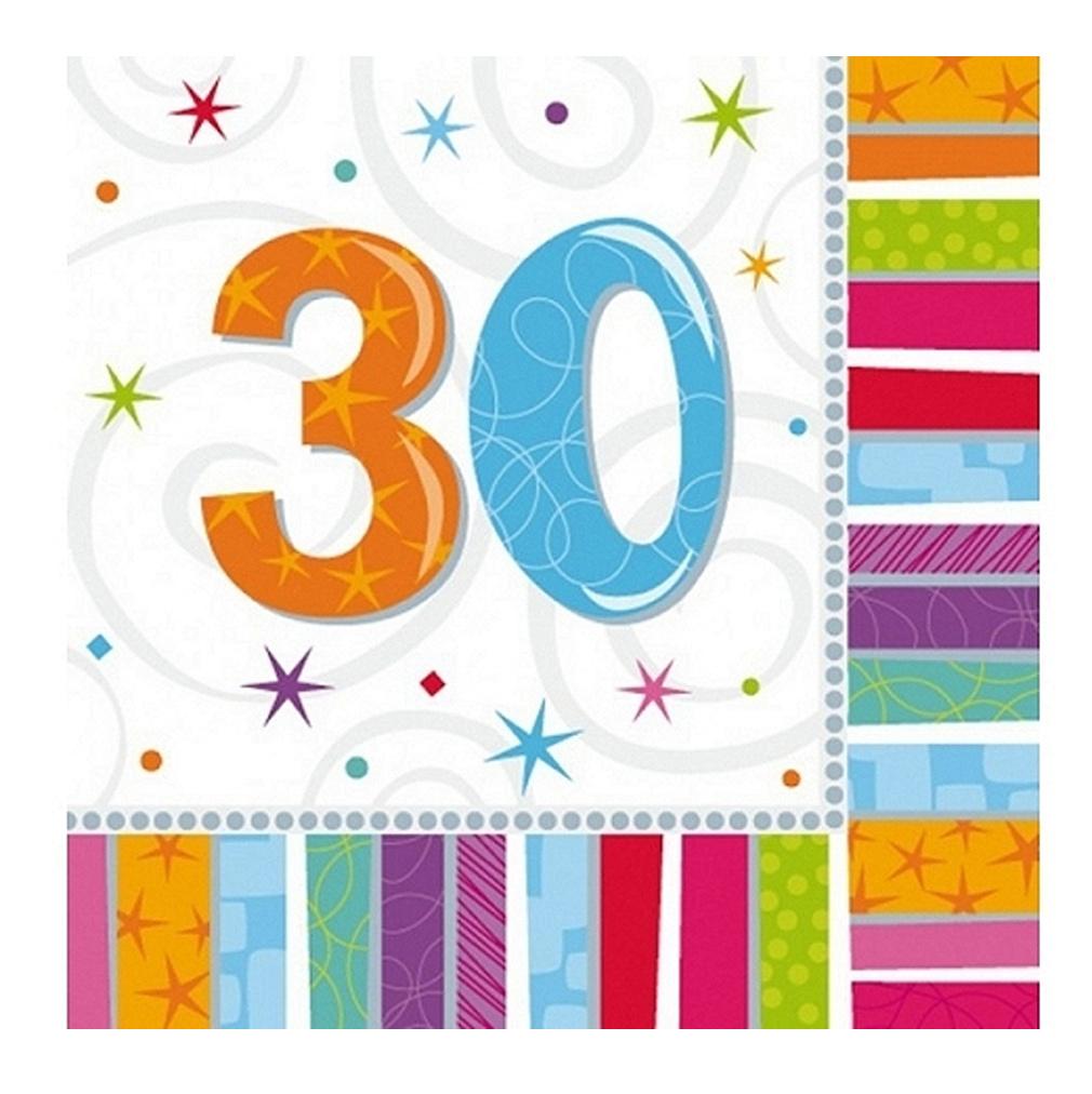 Servietten 30. Geburtstag Zahl 30 Geburtstagsfeier Geburtstagstisch Party