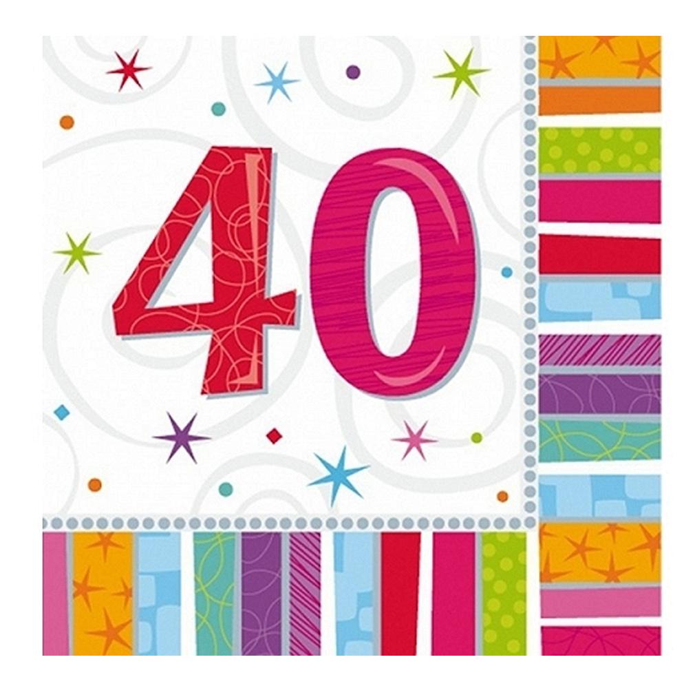 Servietten 40. Geburtstag Zahl 40 Geburtstagsfeier Geburtstagstisch Party