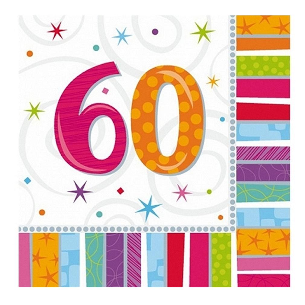 Servietten 60. Geburtstag Zahl 60 Geburtstagsfeier Geburtstagstisch Party