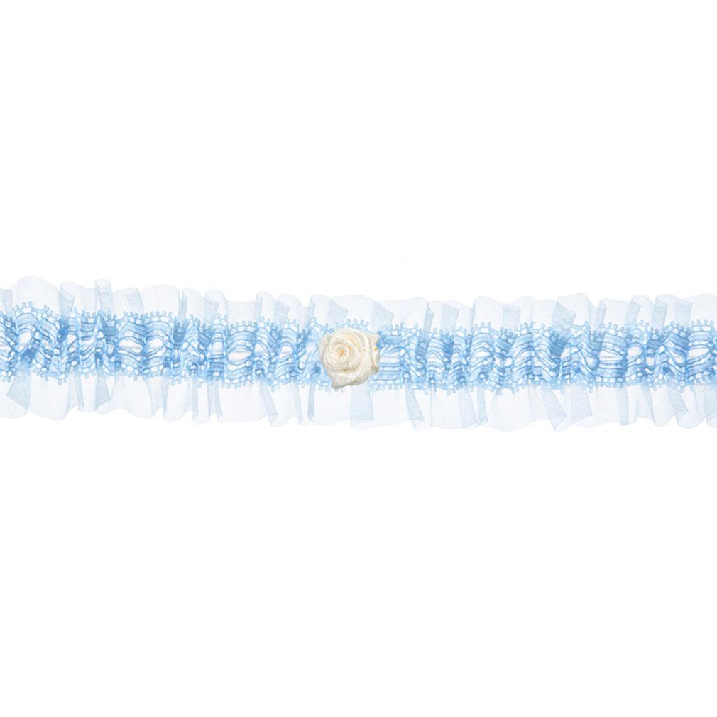 Braut-Strumpfband Satin Himmel-blau mit cremefarbener Satinrose Hochzeit Strumpf