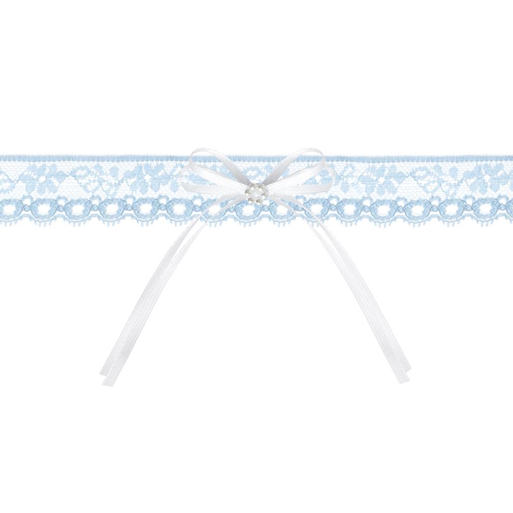 Braut-Strumpfband Spitzenstrumpfband blau Satinband + Perlmutt Hochzeit Strumpf