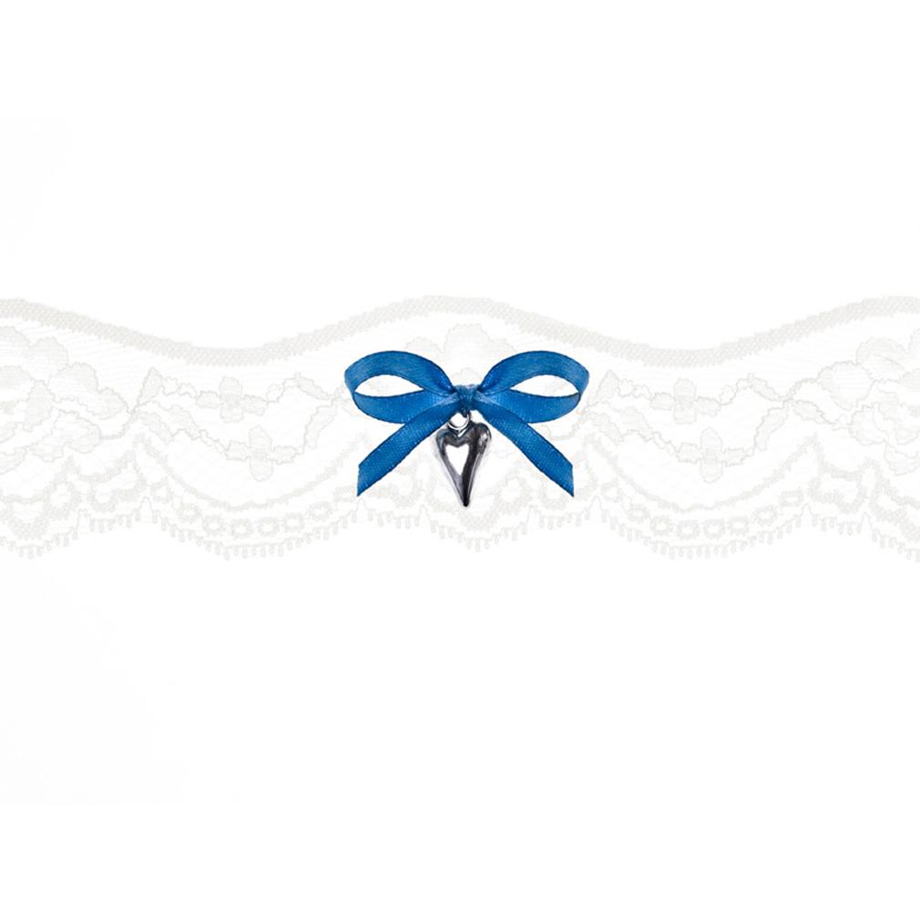 Braut-Strumpfband Spitzenstrumpfband creme Satinband mit Herz Hochzeit Strumpf Band