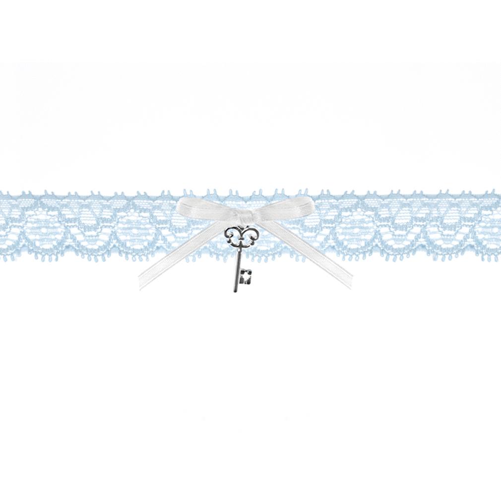 Braut-Strumpfband Spitzenstrumpfband Himmel-blau + Satinband mit Schlüssel