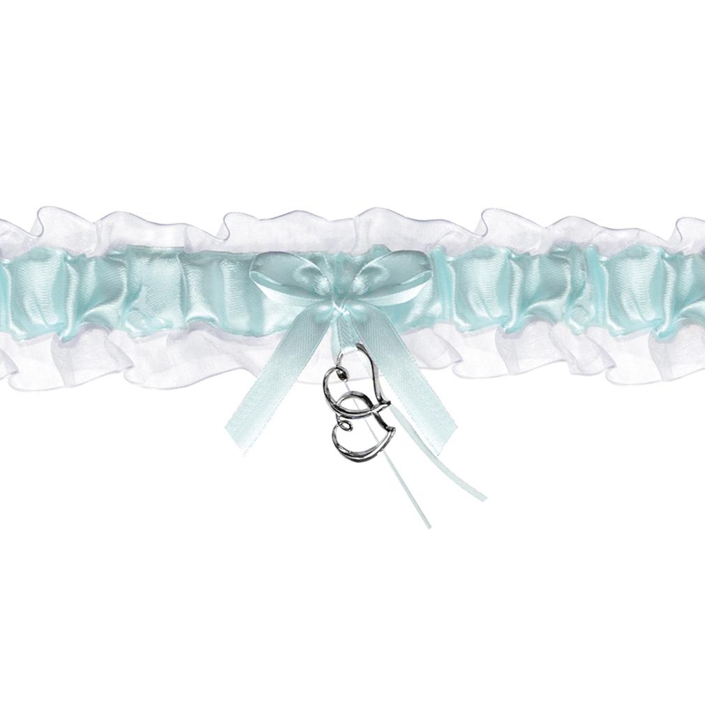 Braut-Strumpfband Chiffon-Strumpfband blau/weiß + Satinband mit Herzen Hochzeit