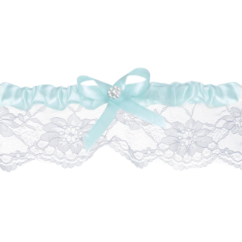 Braut-Strumpfband Spitzenstrumpfband weiß Himmel-blau + Satinband Hochzeit