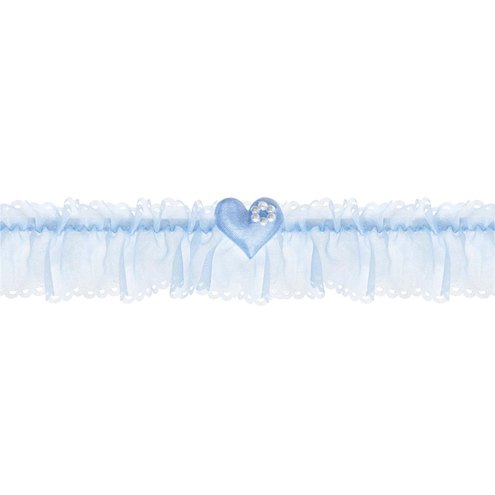Braut-Strumpfband Chiffon-Strumpfband blau + Stoffherz und Perlenblume Hochzeit Strumpf Band
