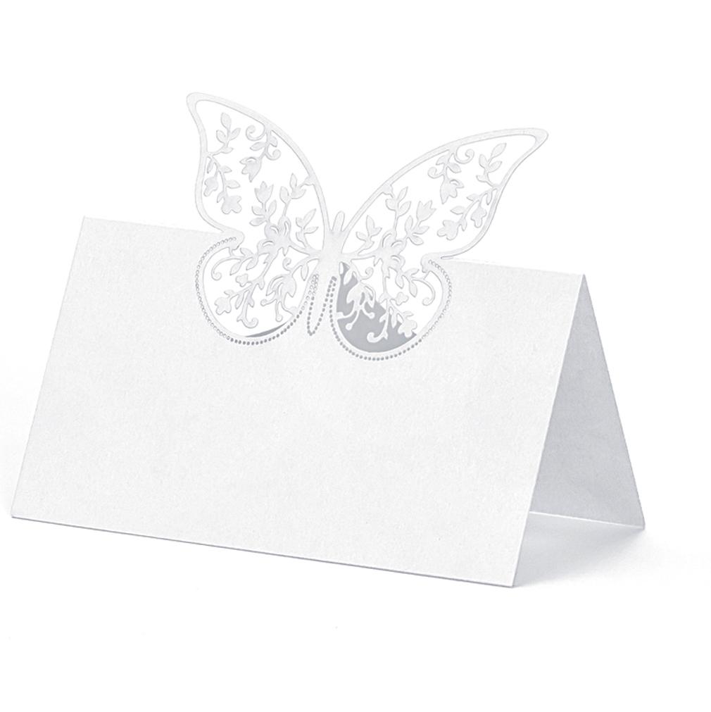 20x Platzkarte Tischkarte Hochzeit Taufe, Tischdekoration mit Schmetterling