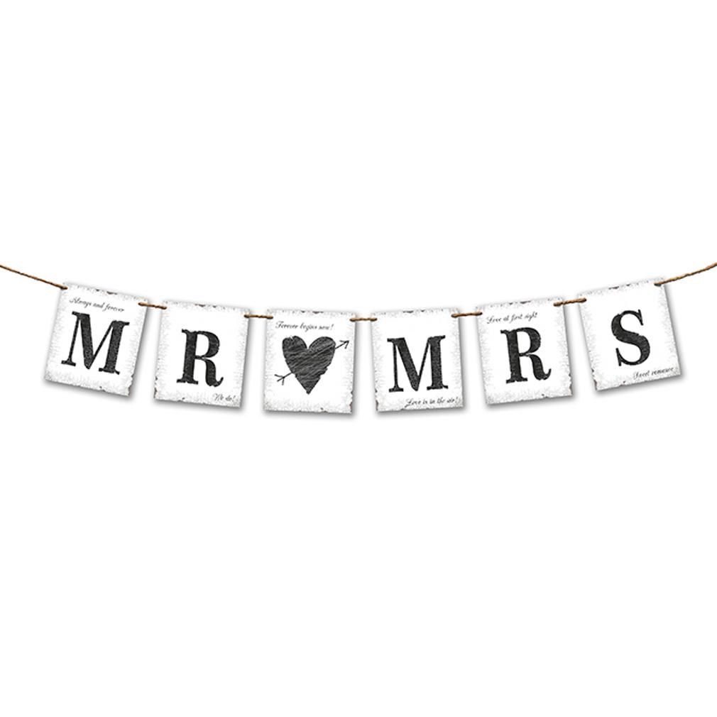 Girlande + Beschriftung MR & MRS - Hochzeit -  Hochzeitsfeier Hochzeits-Girlande