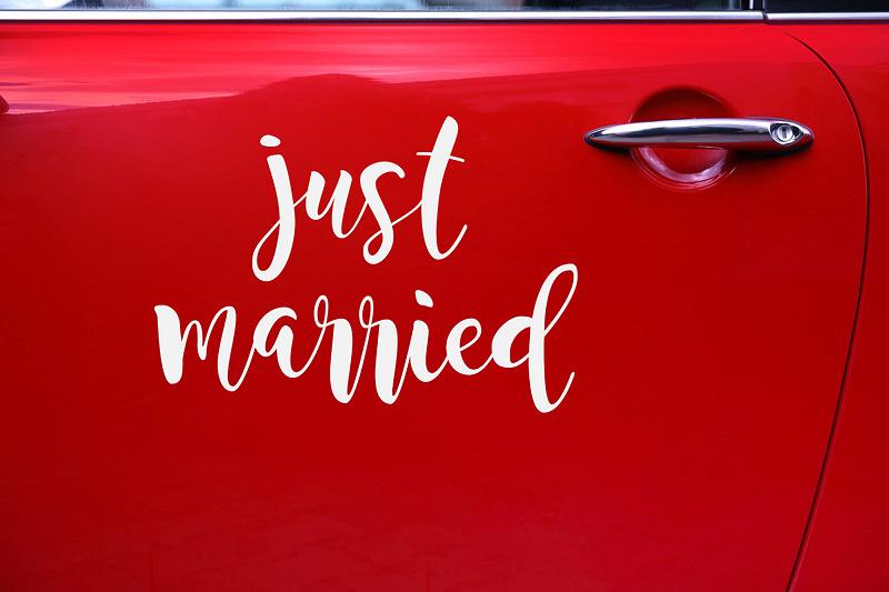 Sticker Aufkleber Just Married weiss für Hochzeitsauto Hochzeitsdeko Brautpaar Autosticker
