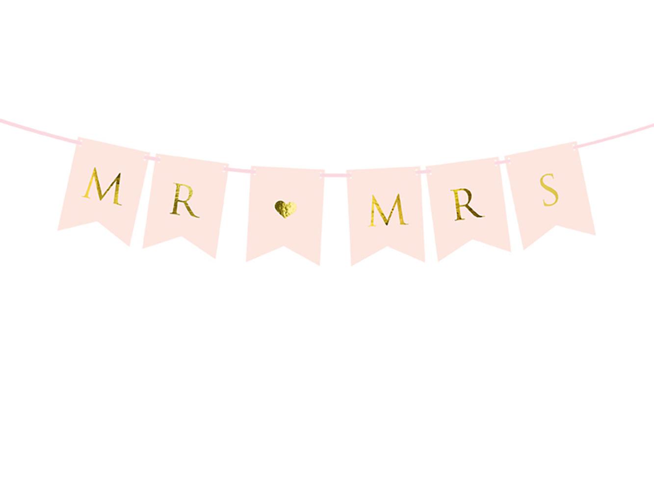 1x Girlande gold-pinkfarben + Beschriftung MR & MRS - Hochzeitsfeier Hochzeits-Girlande