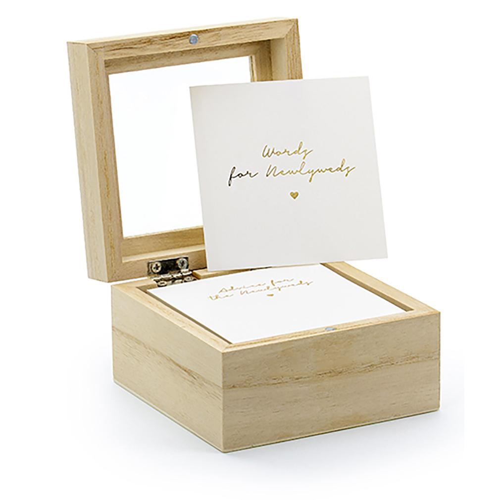 Gästebuch Hochzeitsgästebuch aus Holz mit 110 Karten zum Beschriften
